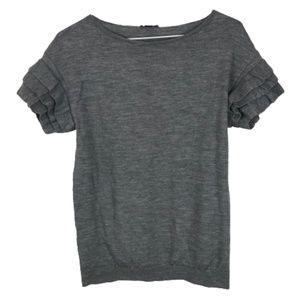 Ann Taylor Short Sleeve Sweater Ruffle Merino Wool